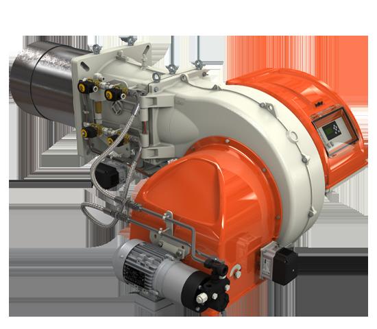 TBML LX ME. Quemadores con alimentación alternativa de gas natural / gasóleo de dos etapas progressivos/modulantes con leva electrónica